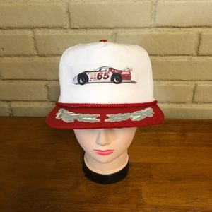 Vintage red & white race car trucker hat